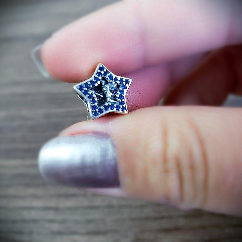 Berloque Estrela Fada Zircônia Azul