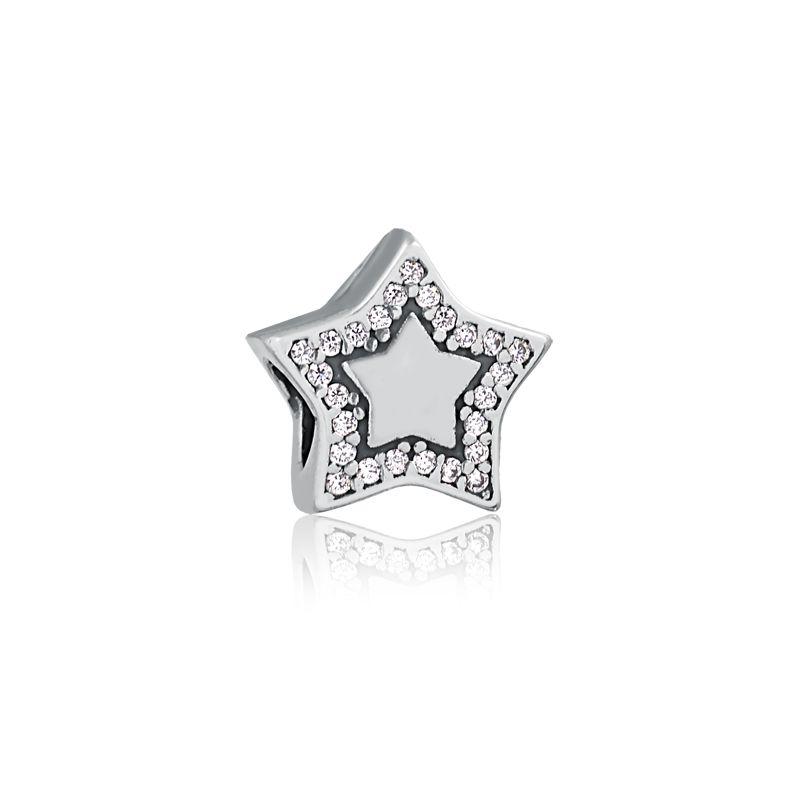 Berloque Estrela Fada Zircônia Brancas