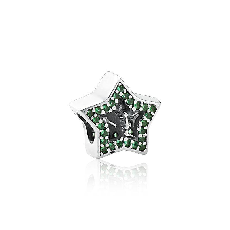 Berloque Estrela Fada Zircônia Verde