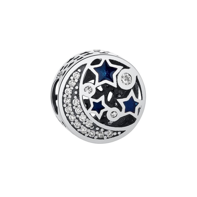 Berloque Estrelas Lua Zircônia Cristal - Prata Italiana