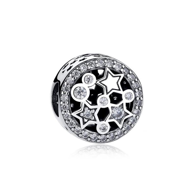 Berloque Estrelas Zircônia Cristal - Prata Italiana
