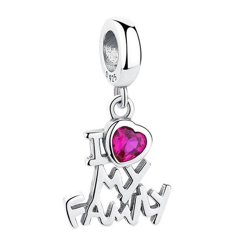Berloque Eu Amo Minha Família Zircônia Rosa