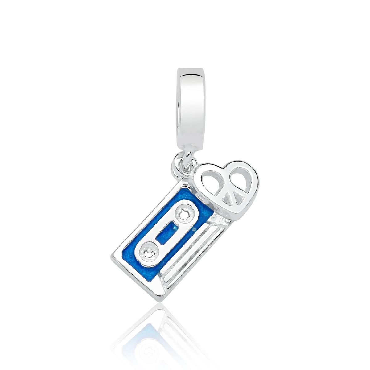 Berloque Fita Cassete Azul Coração