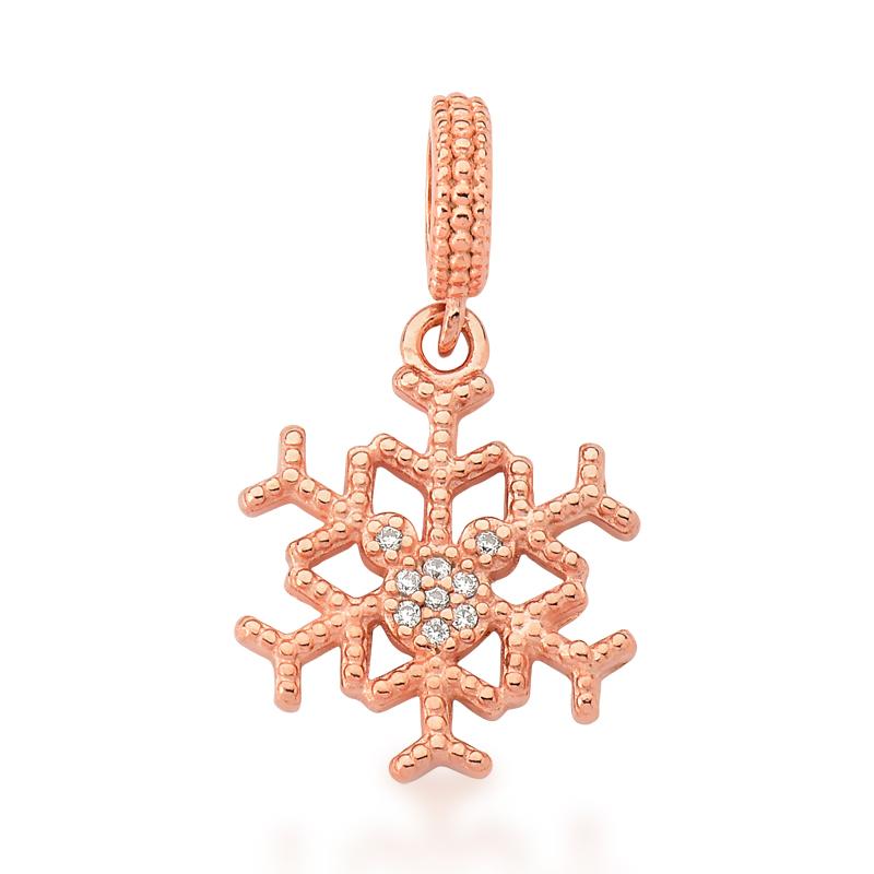 Berloque Floco de Neve Ratinho Zircônias - Ouro Rose