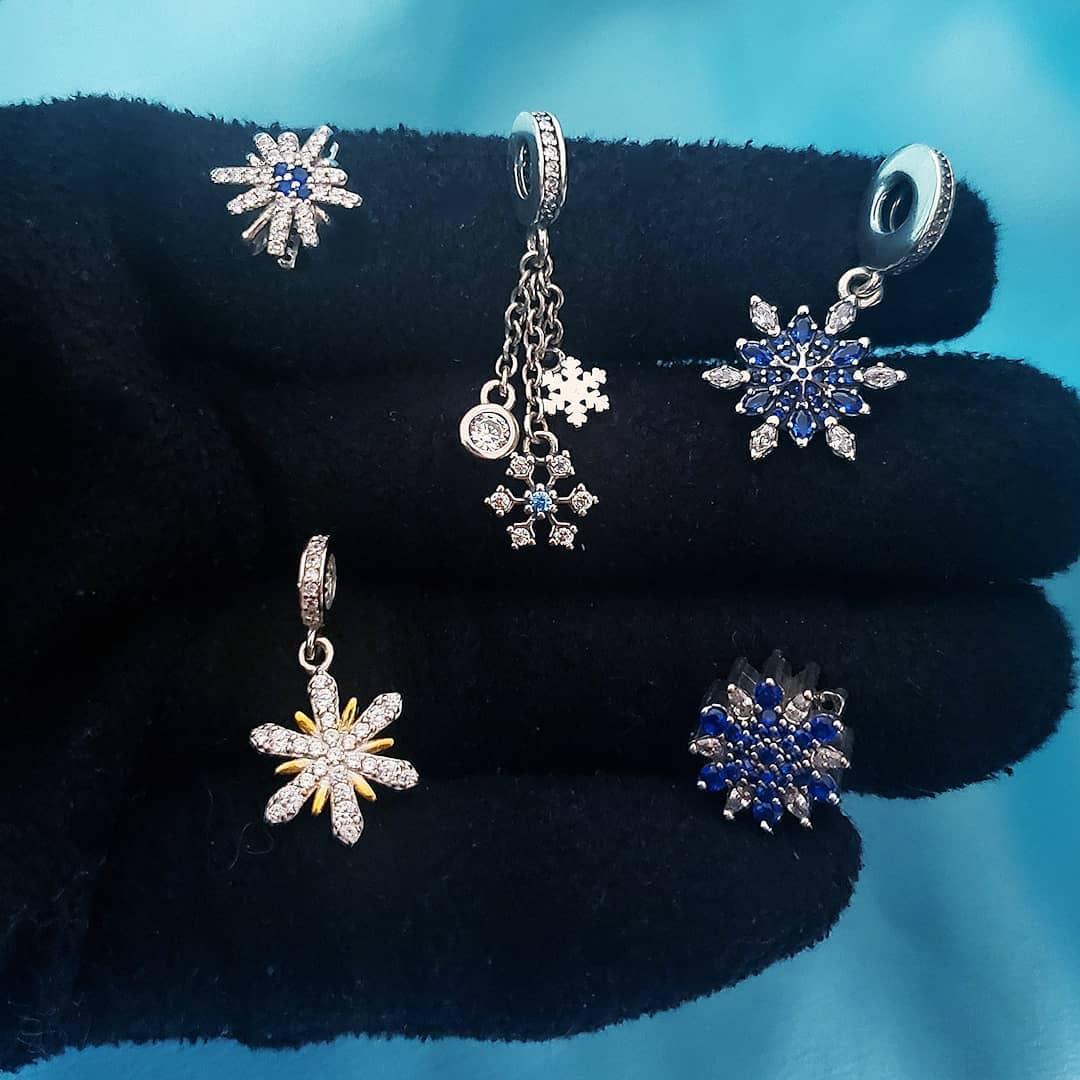 Berloque Floco de Neve Zircônia Azul - Prata Italiana
