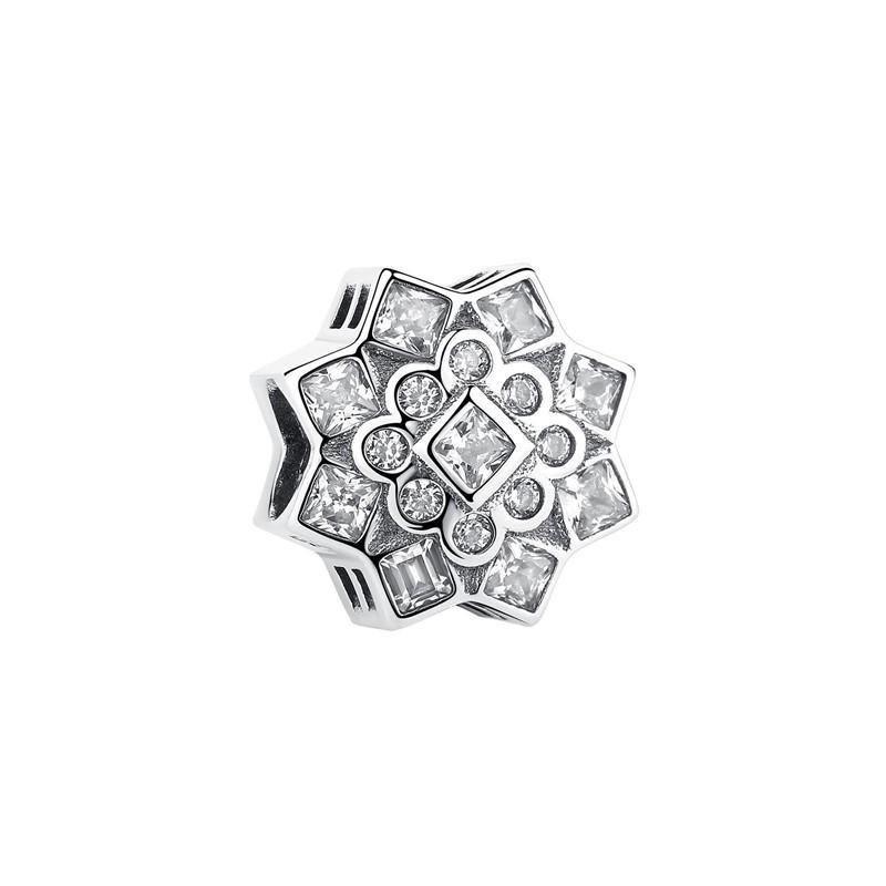 Berloque Floco de Neve Zircônia Cristal II - Prata Italiana