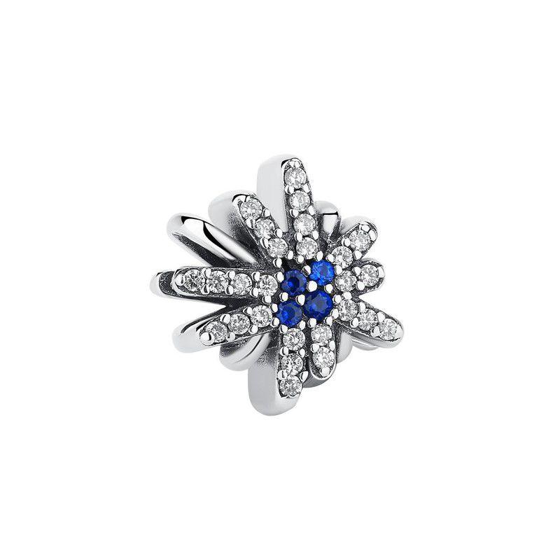 Berloque Floco de Neve Zircônia Cristal - Prata Italiana