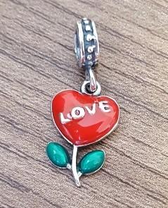 Berloque Flor Coração Love