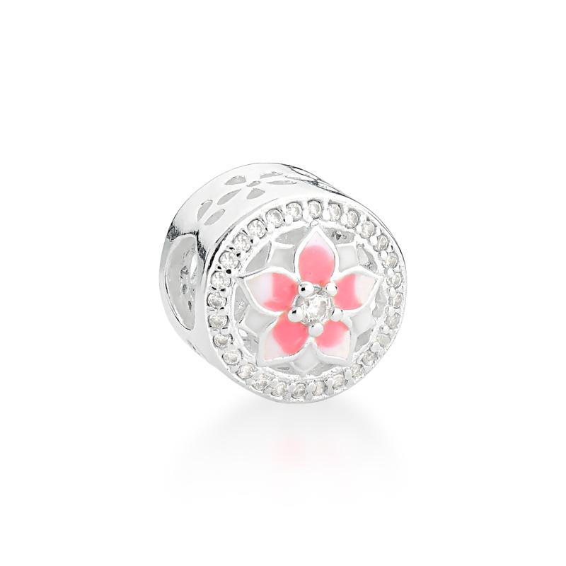 Berloque Flor de Pêssego Rosa Zircônias