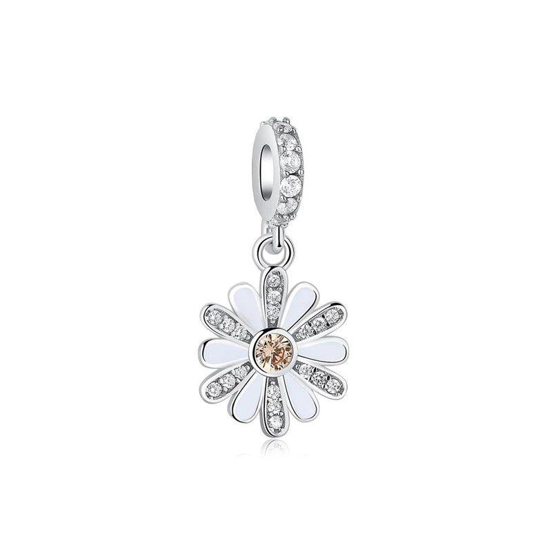 Berloque Flor Girassol Zircônia Cristal - Prata Italiana