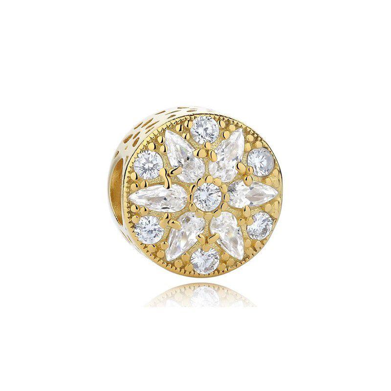 Berloque Flor Zircônia Dourada Cristal - Prata Italiana