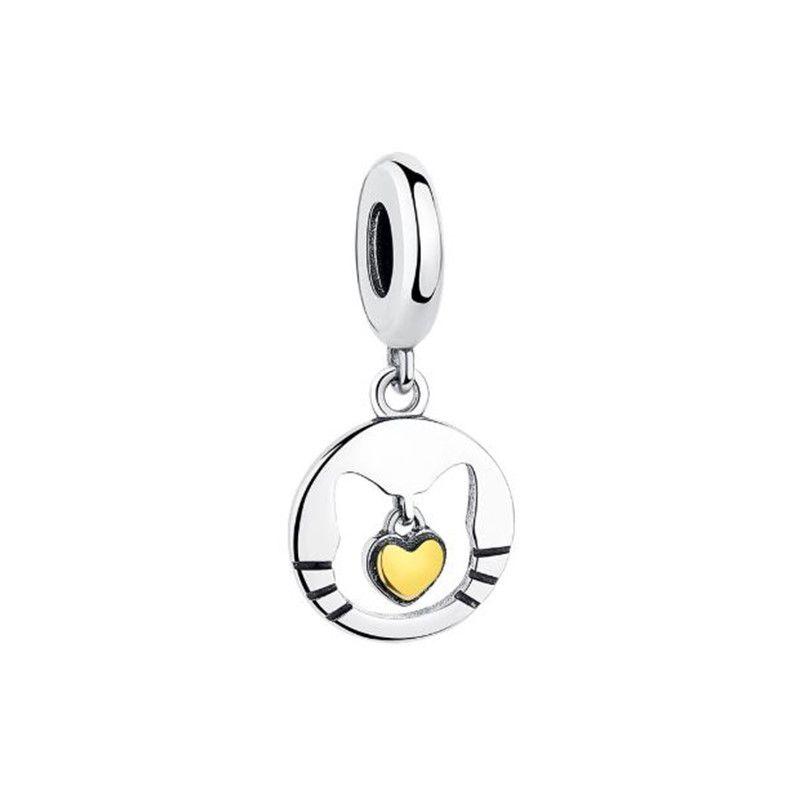 Berloque Gato Coração Dourado - Prata Italiana