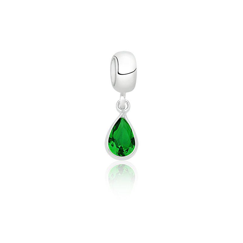 Berloque Gota Pedra Verde Esmeralda