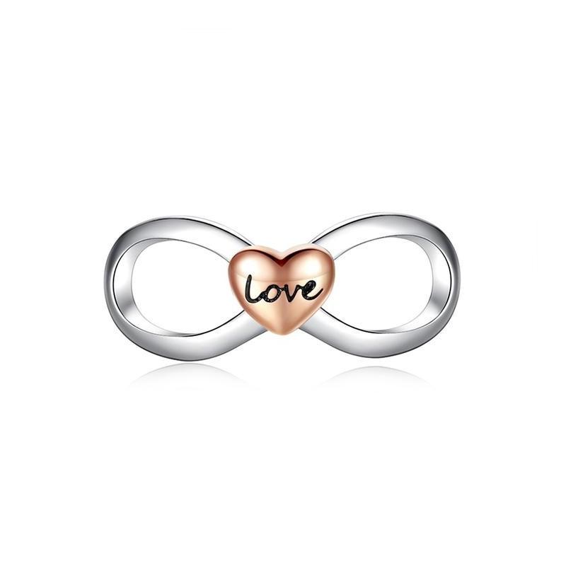 Berloque Infinito Coração Rose Love - Prata Italiana