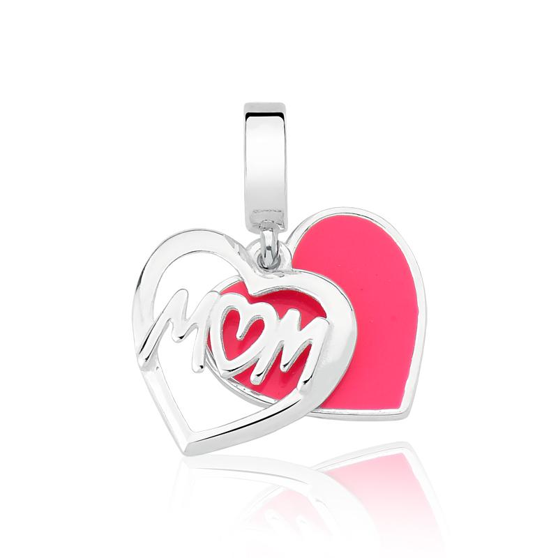 Berloque Mãe Coração Rosa