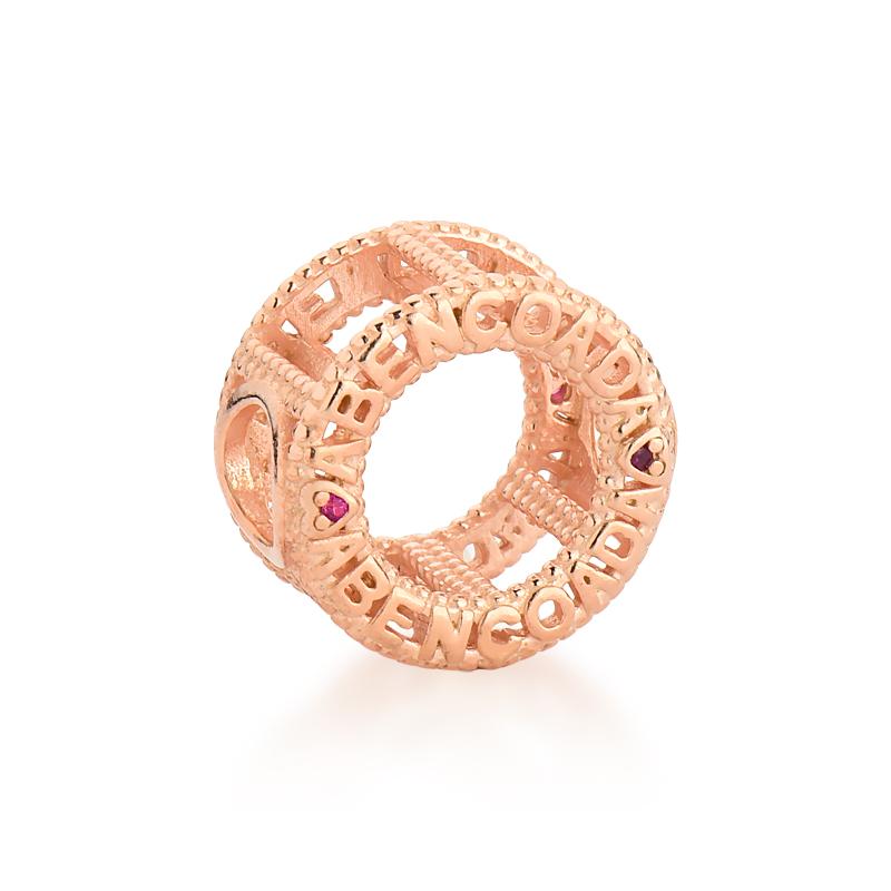 Berloque Mandala Abençoada Zircônia Rosa - Ouro Rose