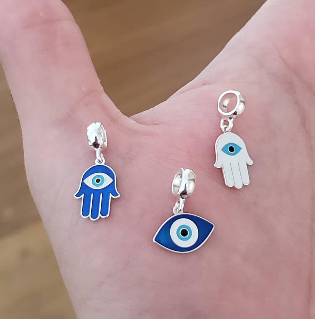 Berloque Mão Hamsá Olho Grego Azul