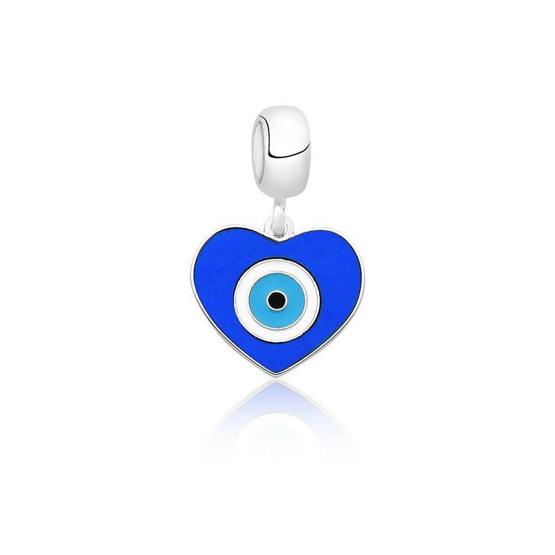 Berloque Olho Grego Coração Azul