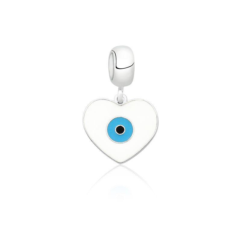 Berloque Olho Grego Coração Branco