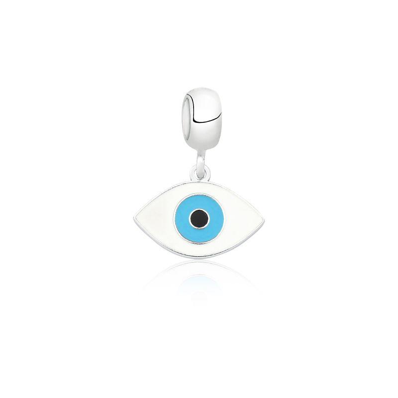 Berloque Olho Grego Esmaltado Branco