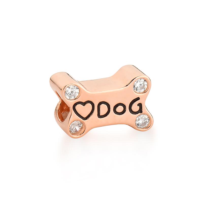 Berloque Ossinho de Cachorro Zircônia - Ouro Rose