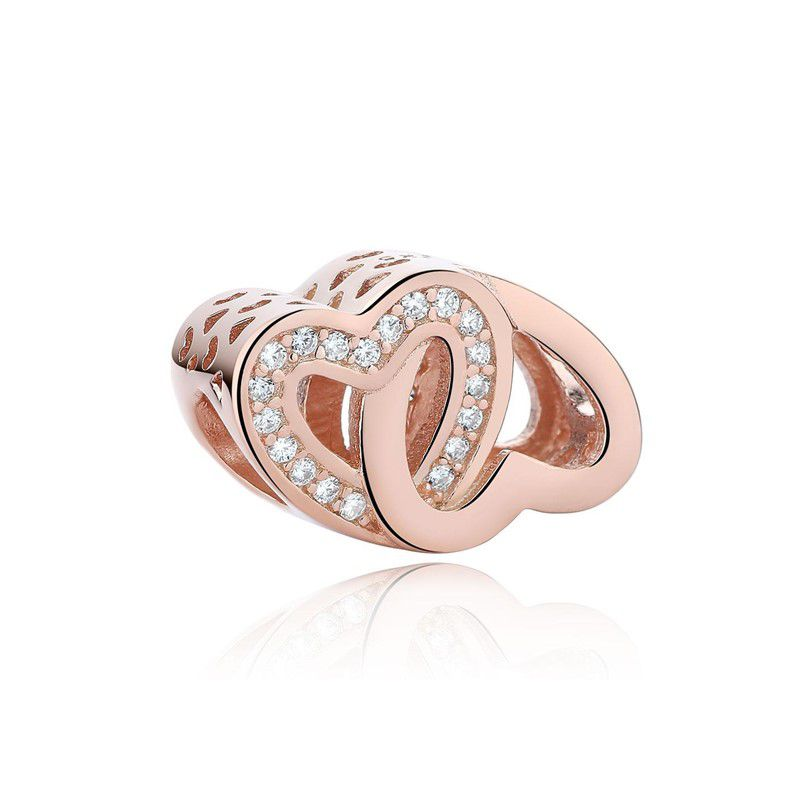 Berloque  Par de Corações Rose Zircônia Cristal - Prata Italiana