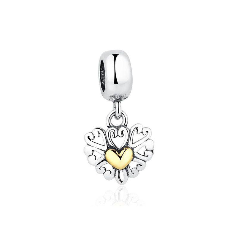 Berloque Pingente Coração Dourado - Prata Italiana