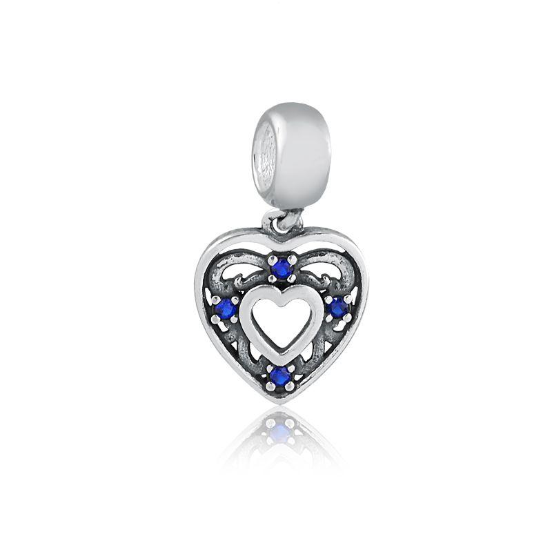Berloque Pingente Coração Zircônia Azul