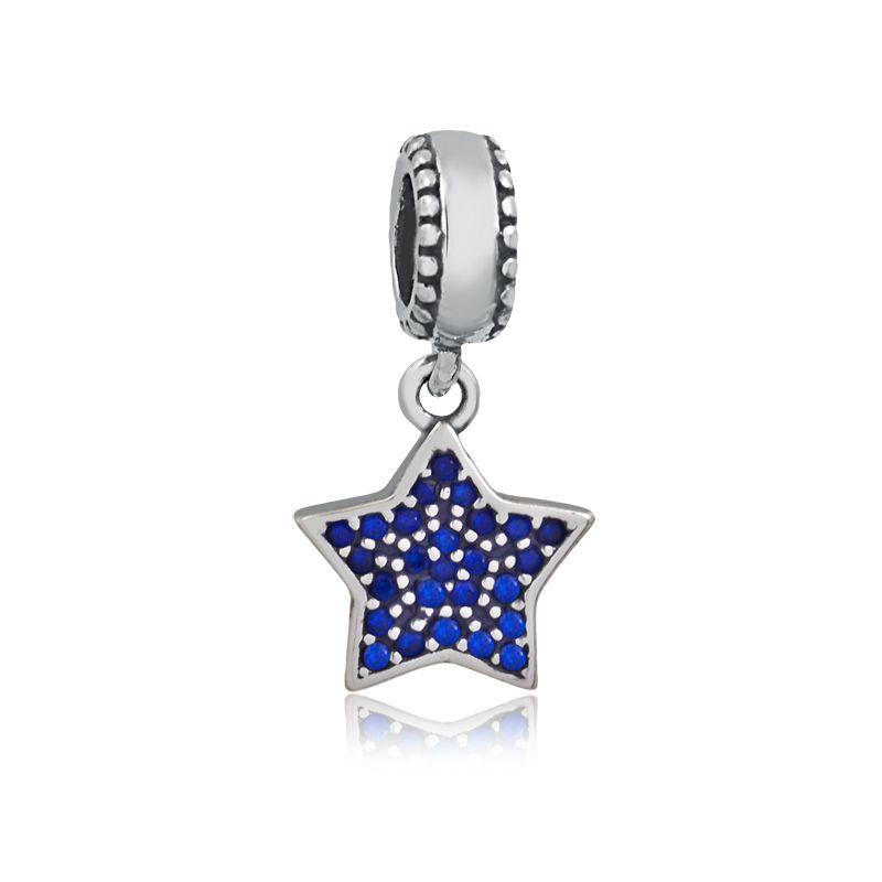 Berloque Pingente Estrela Zircônias Azul