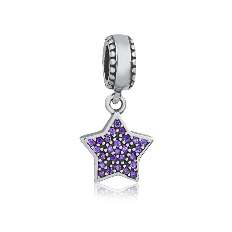 Berloque Pingente Estrela Zircônias Lilás