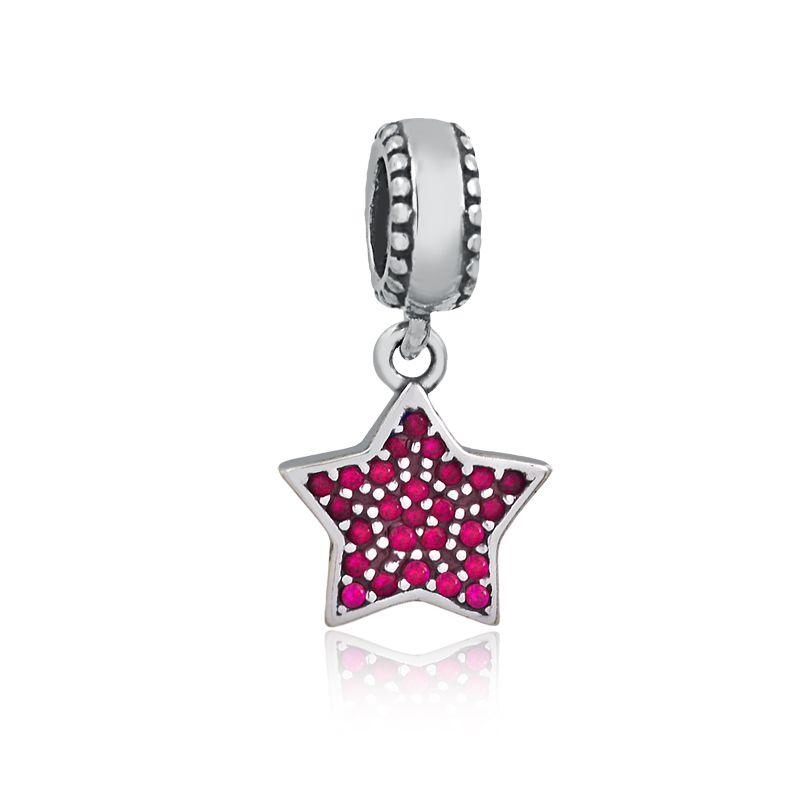 Berloque Pingente Estrela Zircônias Rosa