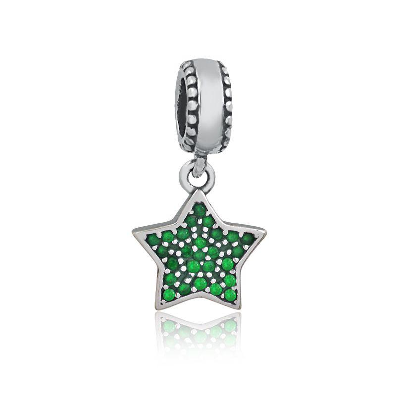 Berloque Pingente Estrela Zircônias Verde
