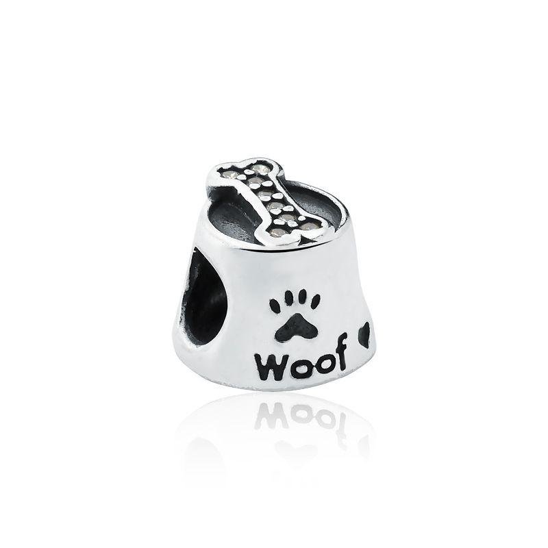 Berloque Pote de Ração Cachorro Ossinho Zircônia Branca
