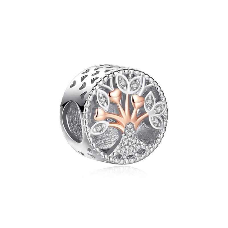 Berloque Separador Árvore da Vida Rose Zircônia Cristal - Prata Italiana