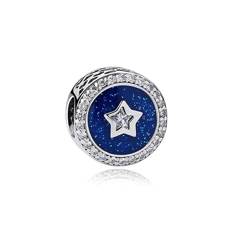 Berloque Separador Azul Estrela Zircônia Cristal - Prata Italiana