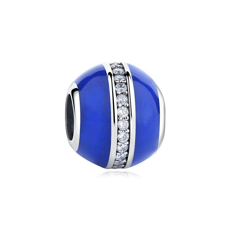 Berloque Separador Azul Zircônia Cristal - Prata Italiana