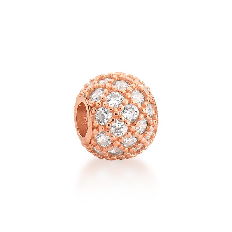 Berloque Separador Brilho Zircônias Cristal - Ouro Rose