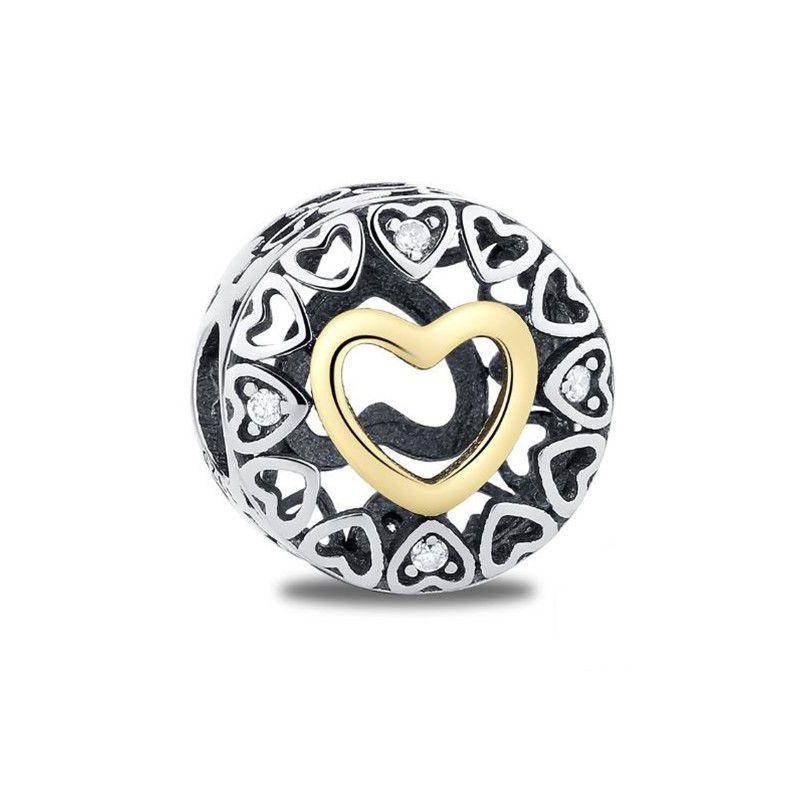 Berloque Separador Coração Dourado - Prata Italiana