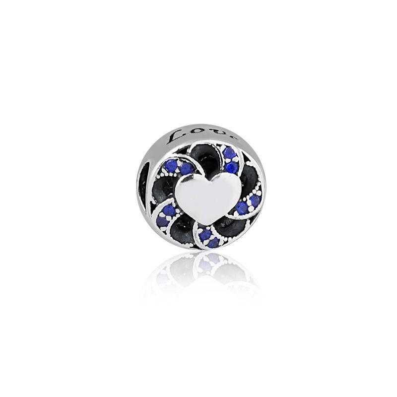 Berloque Separador Coração Love Zircônia Azul