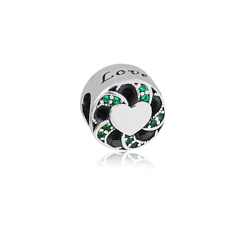 Berloque Separador Coração Love Zircônia Verde