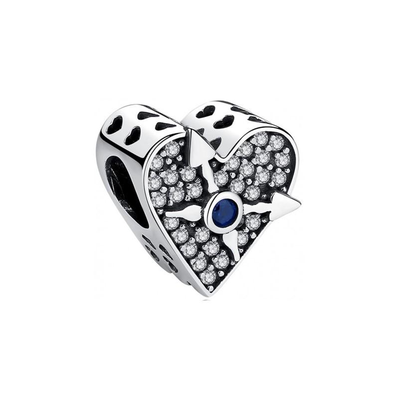 Berloque Separador Coração Relógio Zircônia Cristal - Prata Italiana
