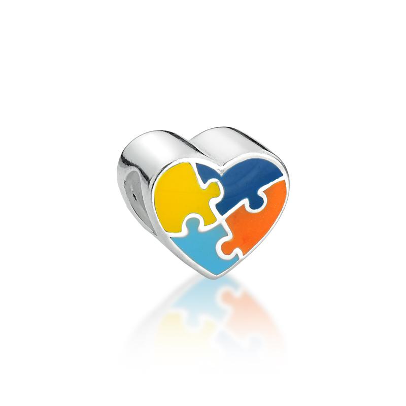 Berloque Separador Coração Símbolo Autismo