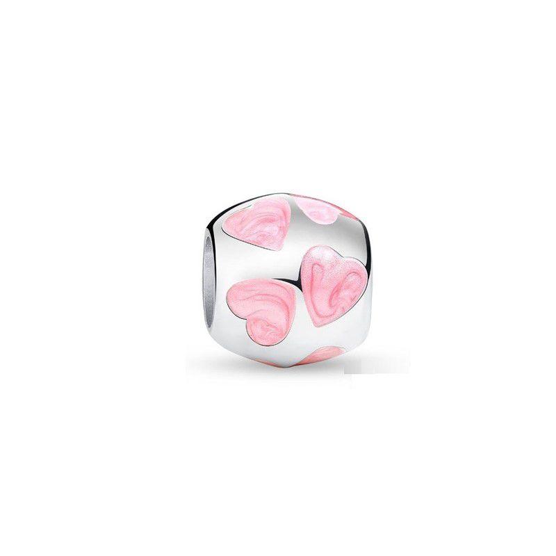 Berloque Separador Corações Rosa