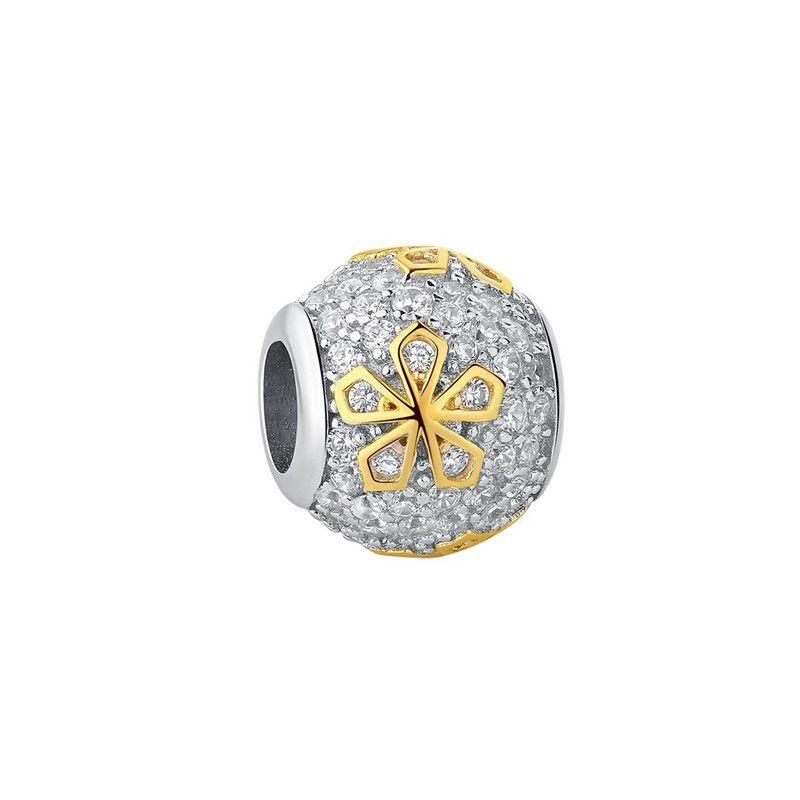 Berloque Separador Cristal Flor Dourada - Prata Italiana