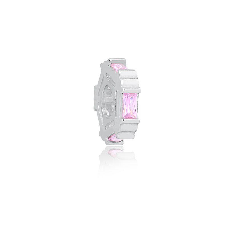 Berloque Separador Cristal Rosa