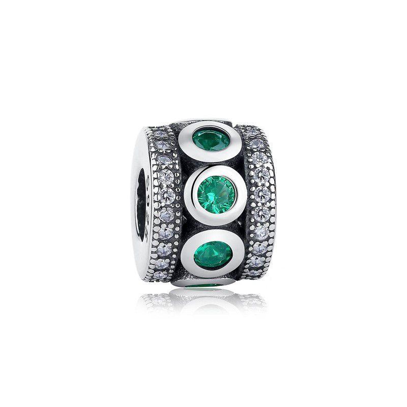 Berloque Separador Encanto Zircônia Verde e Cristal