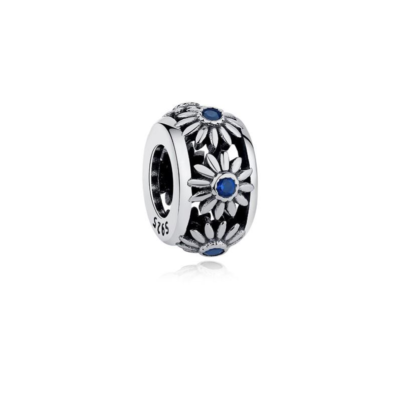 Berloque Separador Flor Zircônia Azul - Prata Italiana