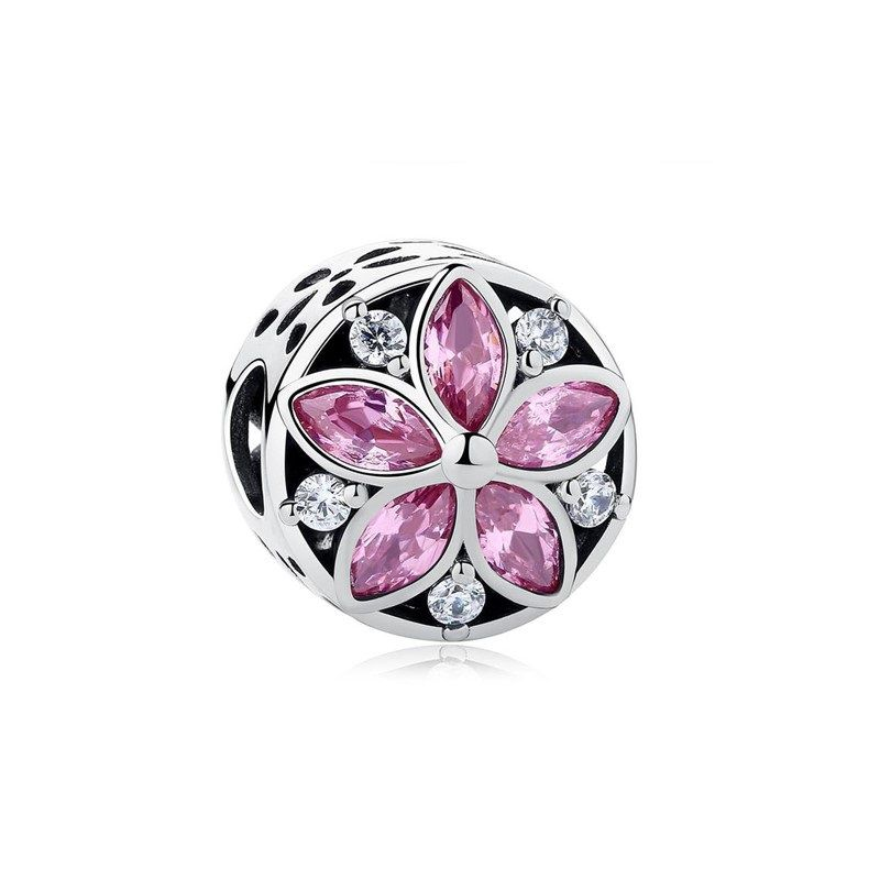 Berloque Separador Flor Zircônia Rosa - Prata Italiana