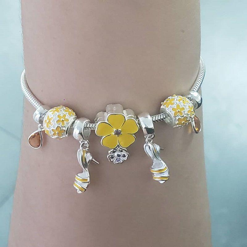 Berloque Separador Floral - Amarelo