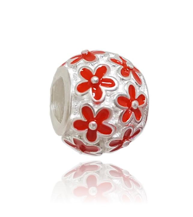 Berloque Separador Floral - Vermelho